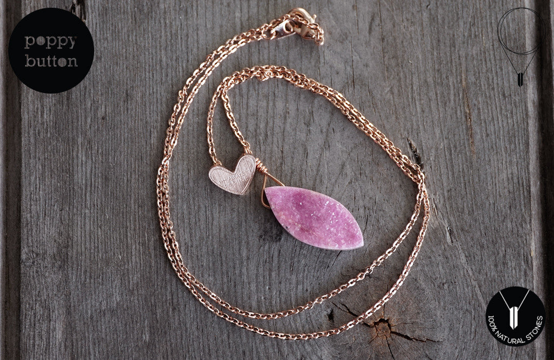 Pink druzy Cobalto Calcite heart necklace - Poppy Button Design - 6