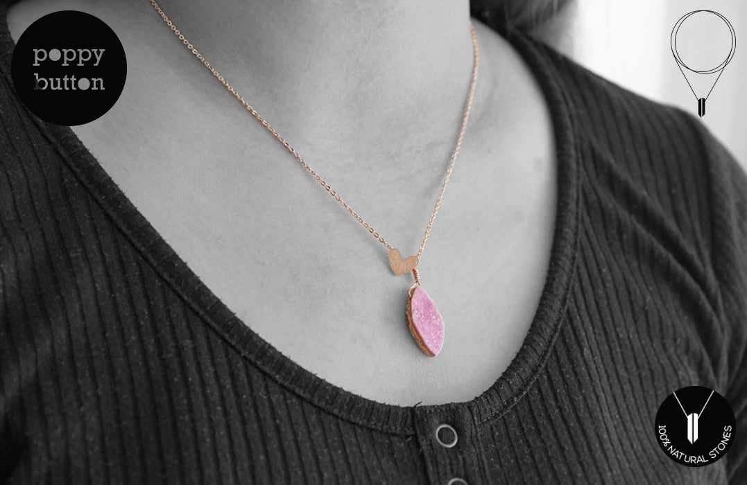 Pink druzy Cobalto Calcite heart necklace - Poppy Button Design - 7