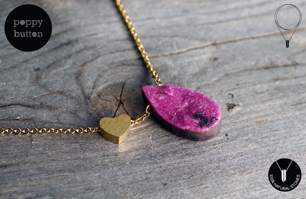 Pink druzy Cobalto Calcite heart necklace - Poppy Button Design - 1