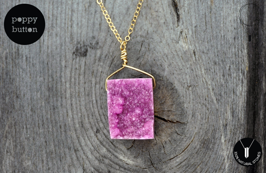 Pink druzy Cobalto Calcite pendant necklace - Poppy Button Design - 4