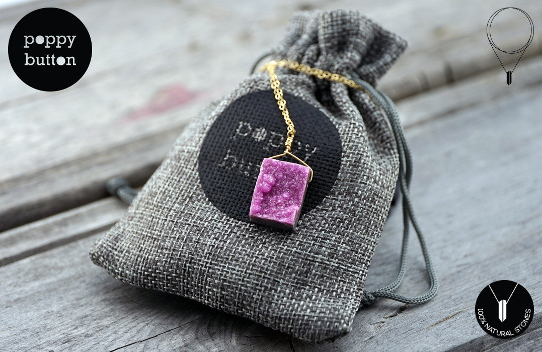Pink druzy Cobalto Calcite pendant necklace - Poppy Button Design - 5
