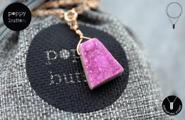 Pink druzy Cobalto Calcite pendant necklace - Poppy Button Design - 1