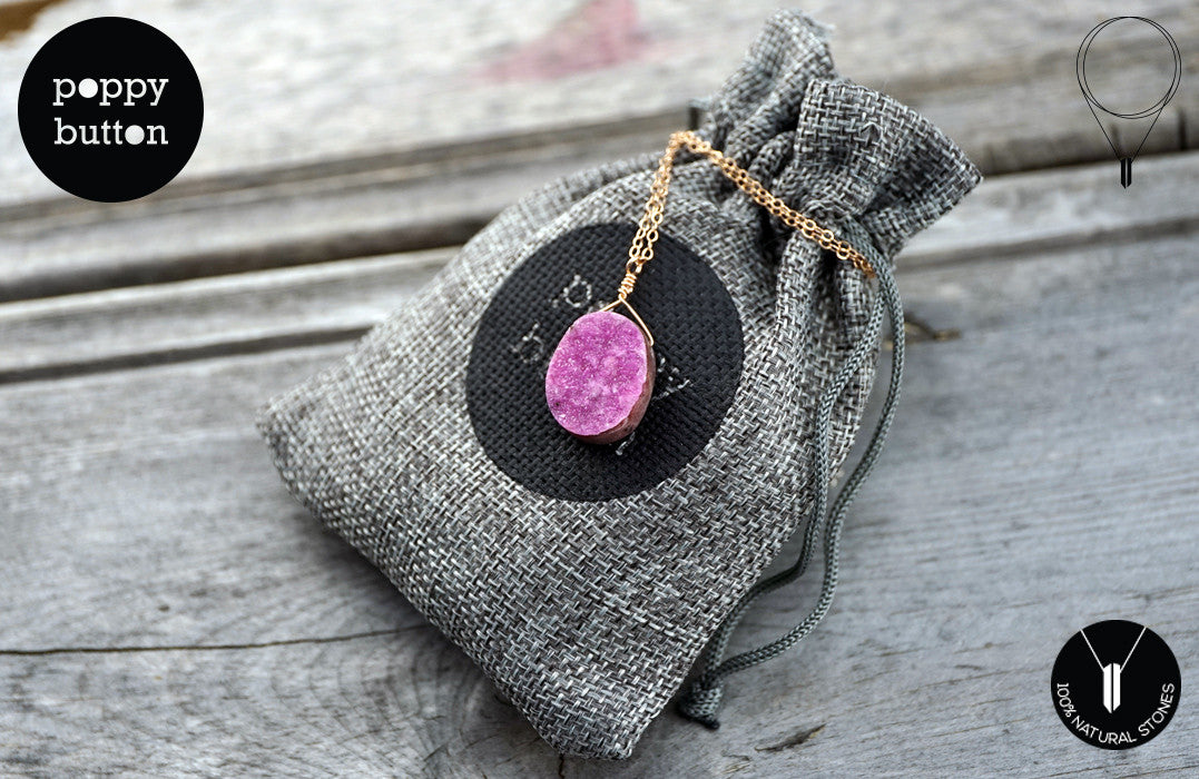 Pink druzy Cobalto Calcite oval pendant necklace - Poppy Button Design - 5