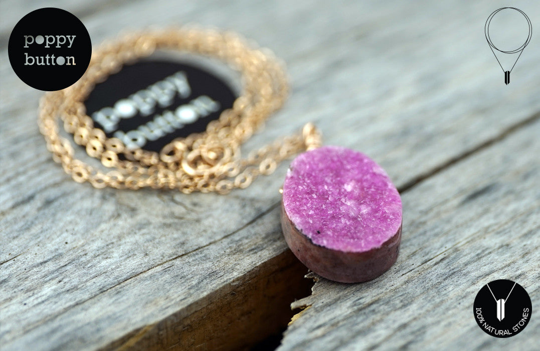 Pink druzy Cobalto Calcite oval pendant necklace - Poppy Button Design - 7