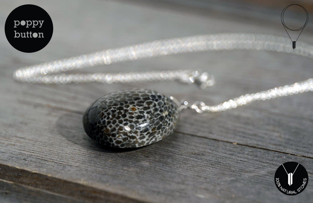 Moroccan Fossilised Bryozoan Coral freeform pendant with 925 Sterling silver chain - Poppy Button Design - 6