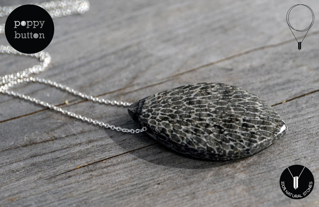Moroccan Fossilised Bryozoan Coral freeform pendant with 925 Sterling silver chain - Poppy Button Design - 1