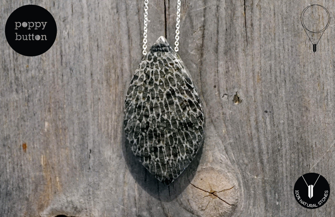 Moroccan Fossilised Bryozoan Coral freeform pendant with 925 Sterling silver chain - Poppy Button Design - 2