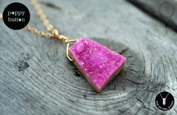 100% natural Cobaltoan Calcite Pink druzy freeform pendant with rose goldfilled chain, necklace (GSN000015)