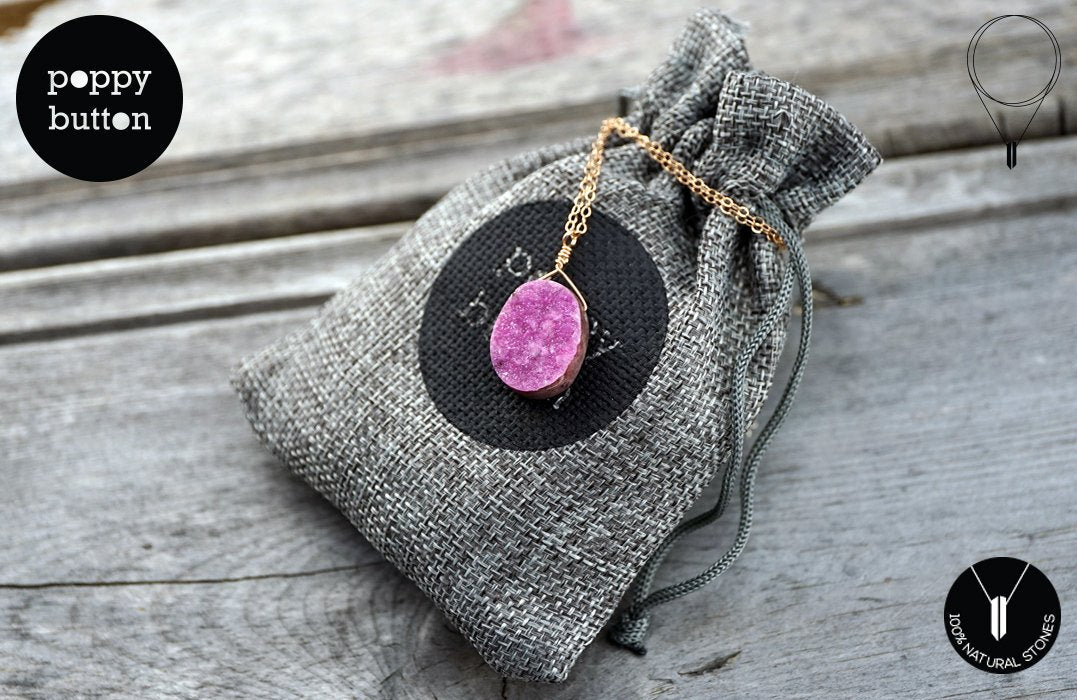 100% natural Cobaltoan Calcite Pink druzy freeform pendant with rose goldfilled chain, necklace (GSN000020)