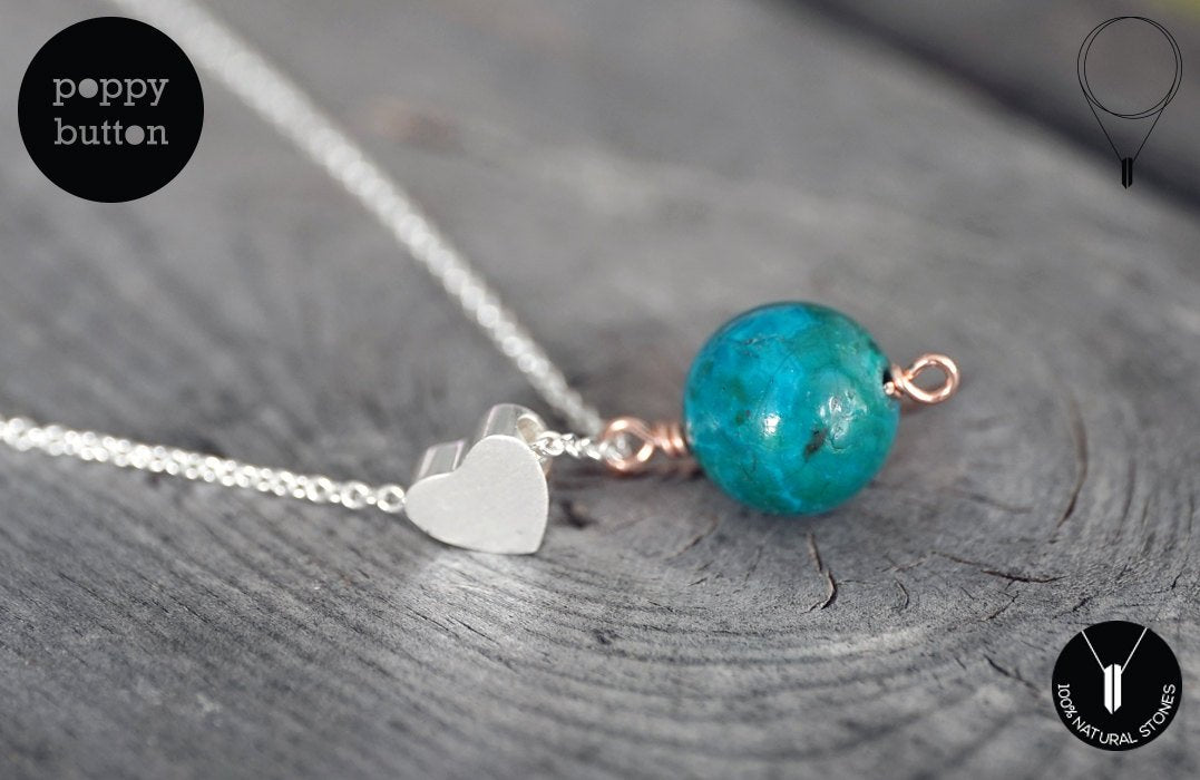 Shattuckite and silver plated heart necklace (GSN00013)