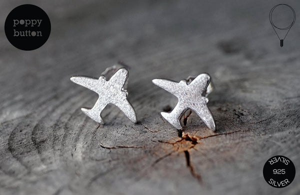 925 Silver aeroplane stud earrings