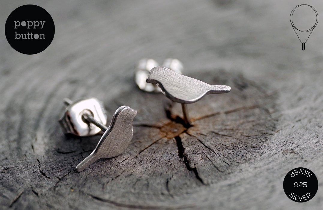 925 Silver tiny cute bird stud earrings