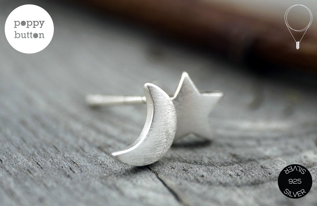 Dainty 925 silver moon & star stud earrings