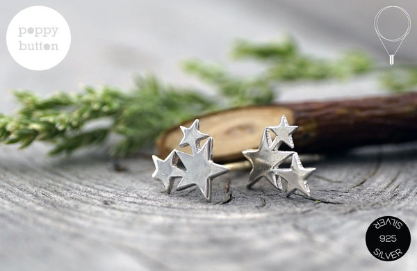 Petite Stars 925 silver stud earrings