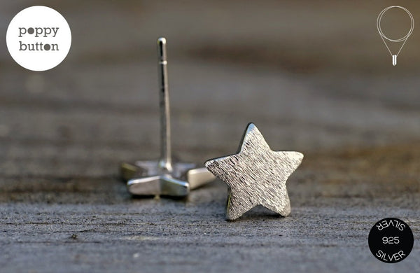 Dainty 925 silver star stud earrings