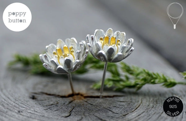 Minimal matte 925 silver Lotus flower stud earrings