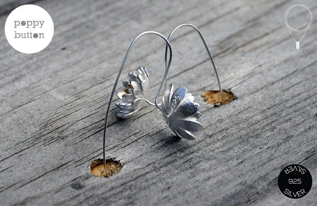 Brushed Silver Lotus flower dangle drop earrings