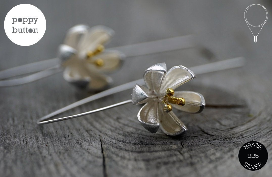 Brushed Silver Lily flower dangle drop earrings