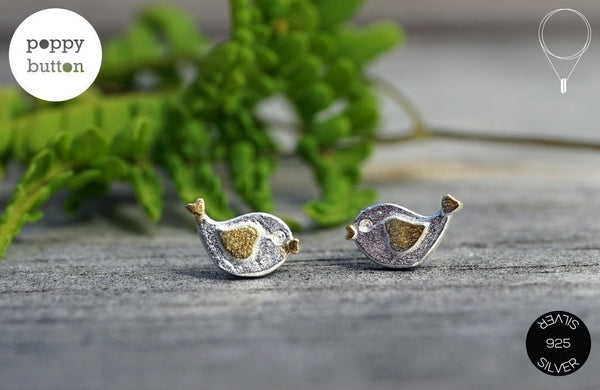 Silver singing birds silver stud earrings