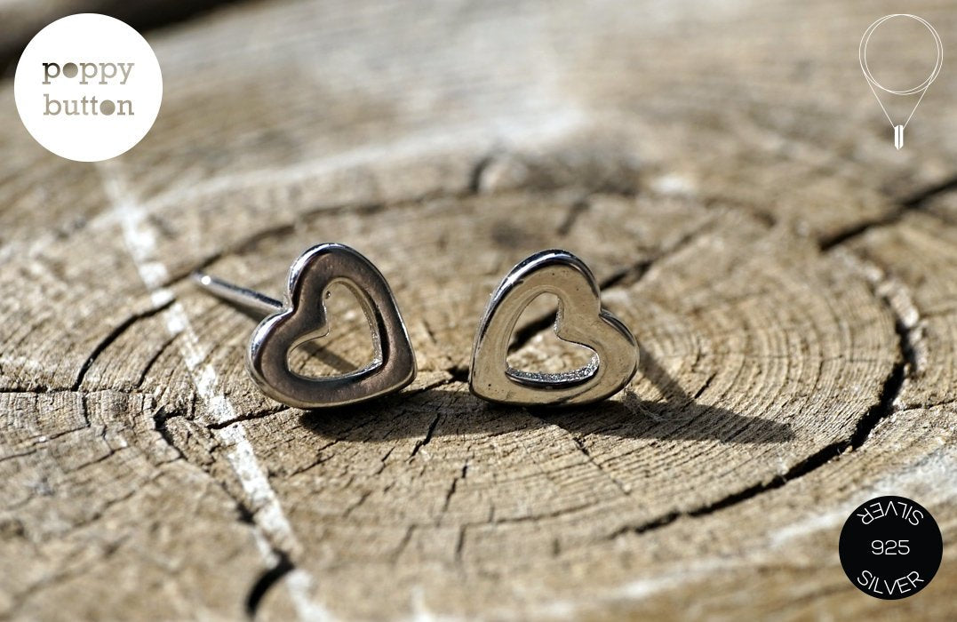 925 silver tiny hearts stud earrings
