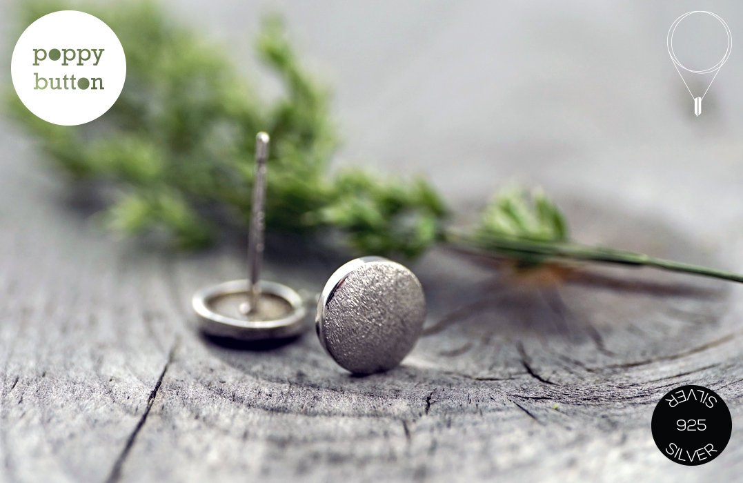 Dainty 8mm circle round brushed silver stud earrings