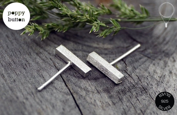 Dainty 10mm brushed silver BAR stud earrings