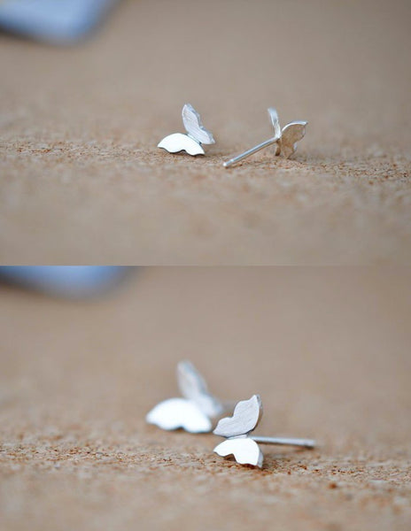 Dainty butterfly brushed silverstud earrings