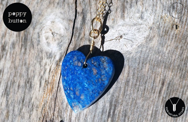100% natural Shattuckite heart pendant with 14k gold-filled chain, necklace (NE00010)