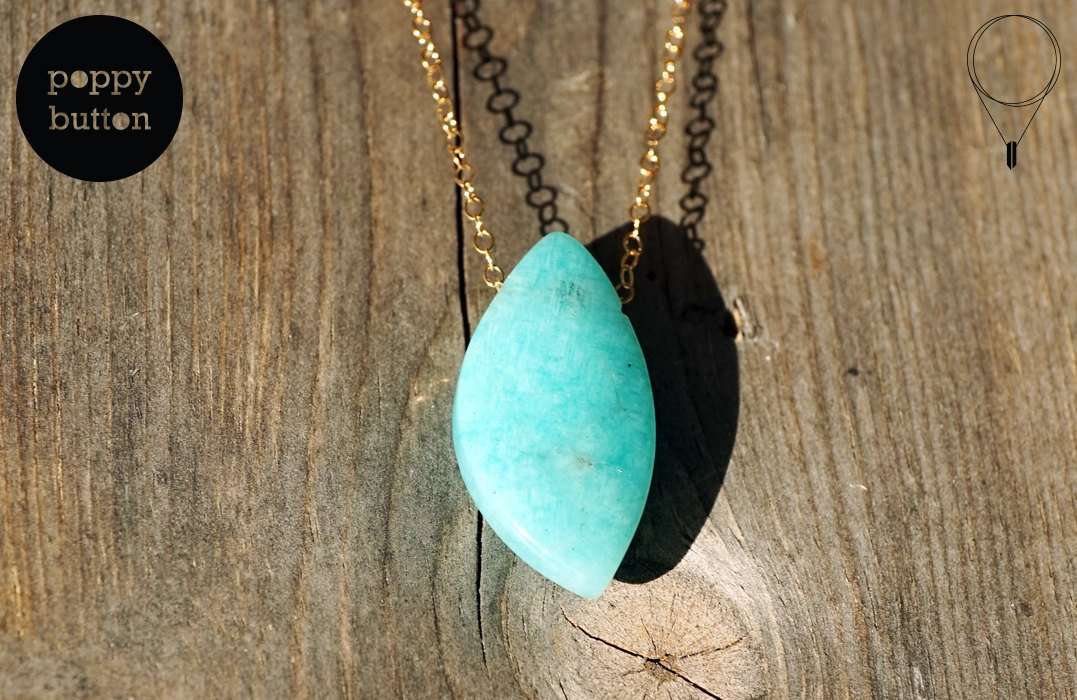 100% natural Peruvian Amazonite freeform pendant with 14k gold-filled chain, necklace (NE00026)
