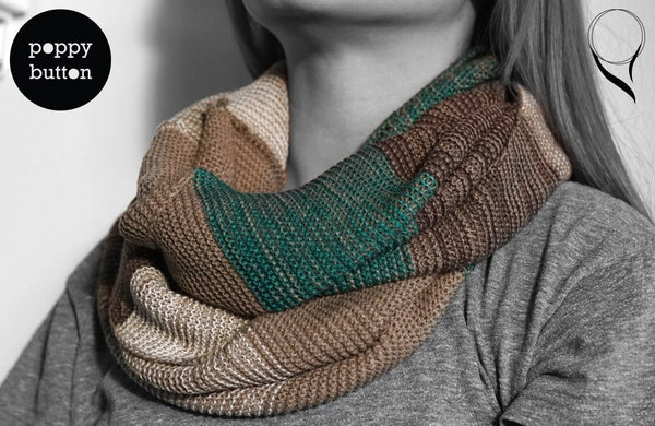 Autumn Winter brown and green plaid tartan infinity circle cowl scarf (SC00001)