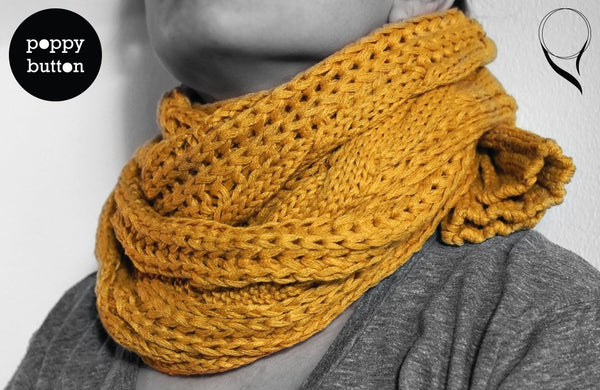 Autumn Winter orange yellow chunky knit scarf (SC00003)