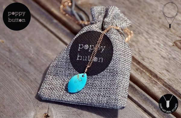 100% natural Kingman Turquoise freeform pendant with 14k Rose gold-filled chain, necklace (NE00036)