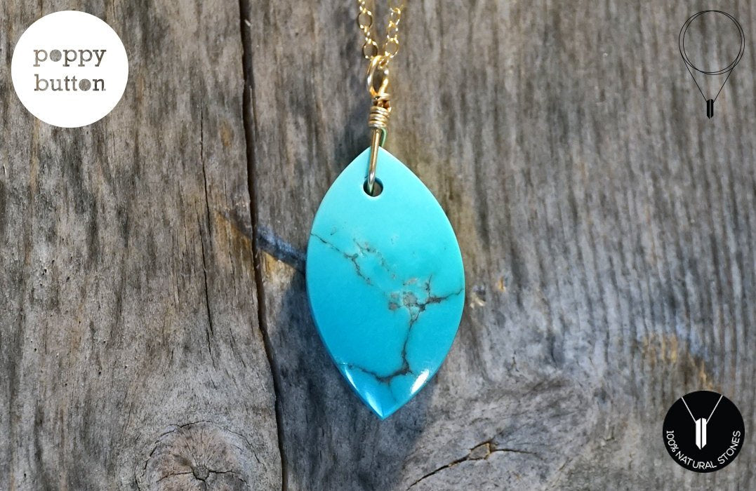 100% natural Kingman Turquoise freeform pendant with 14k gold-filled chain, necklace (NE00035)
