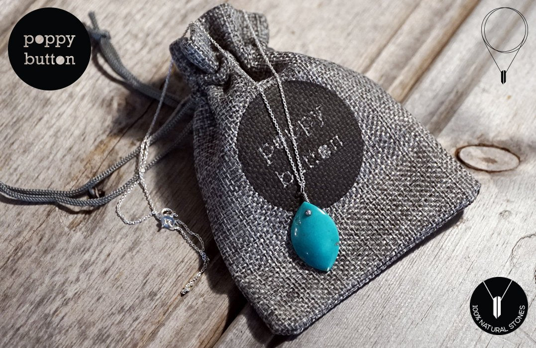 100% natural Kingman Turquoise freeform pendant with 925 silver chain, necklace (NE00037)