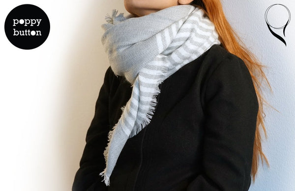 Autumn Winter 2015 Minimalist Super soft linen cotton light grey striped long scarf (SC00007)