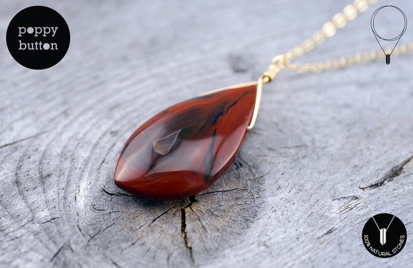 Condor agate freeform pendant with goldfilled chain, necklace (GSN_00021)