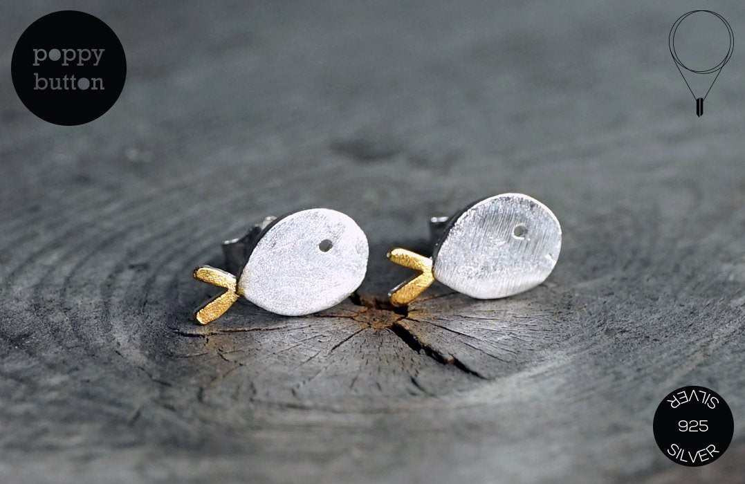 925 Silver fish stud earrings