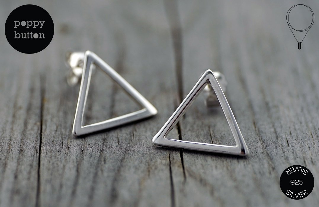 925 Silver tiny hollow triangles stud earrings