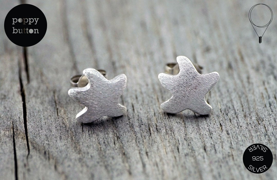 925 Silver tiny star fish stud earrings