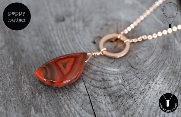 Amazing Condor agate freeform pendant with rose gold plated circle chain, necklace (GSN_00011)
