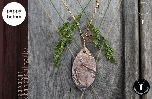 Matte Sonoran Dendritic Rhyolite freeform pendant with goldfilled chain necklace (GS_N00040)