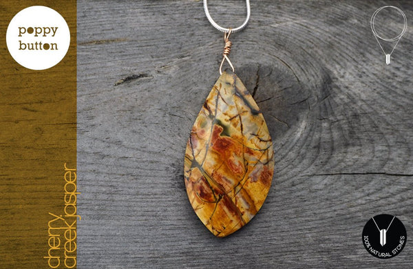 Cherry Creek Jasper freeform pendant with long silver chain, necklace (GSN_00042)