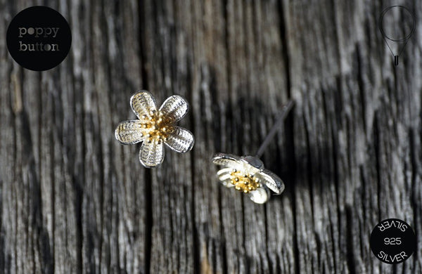Dainty sakura flower stud earrings in 925 silver