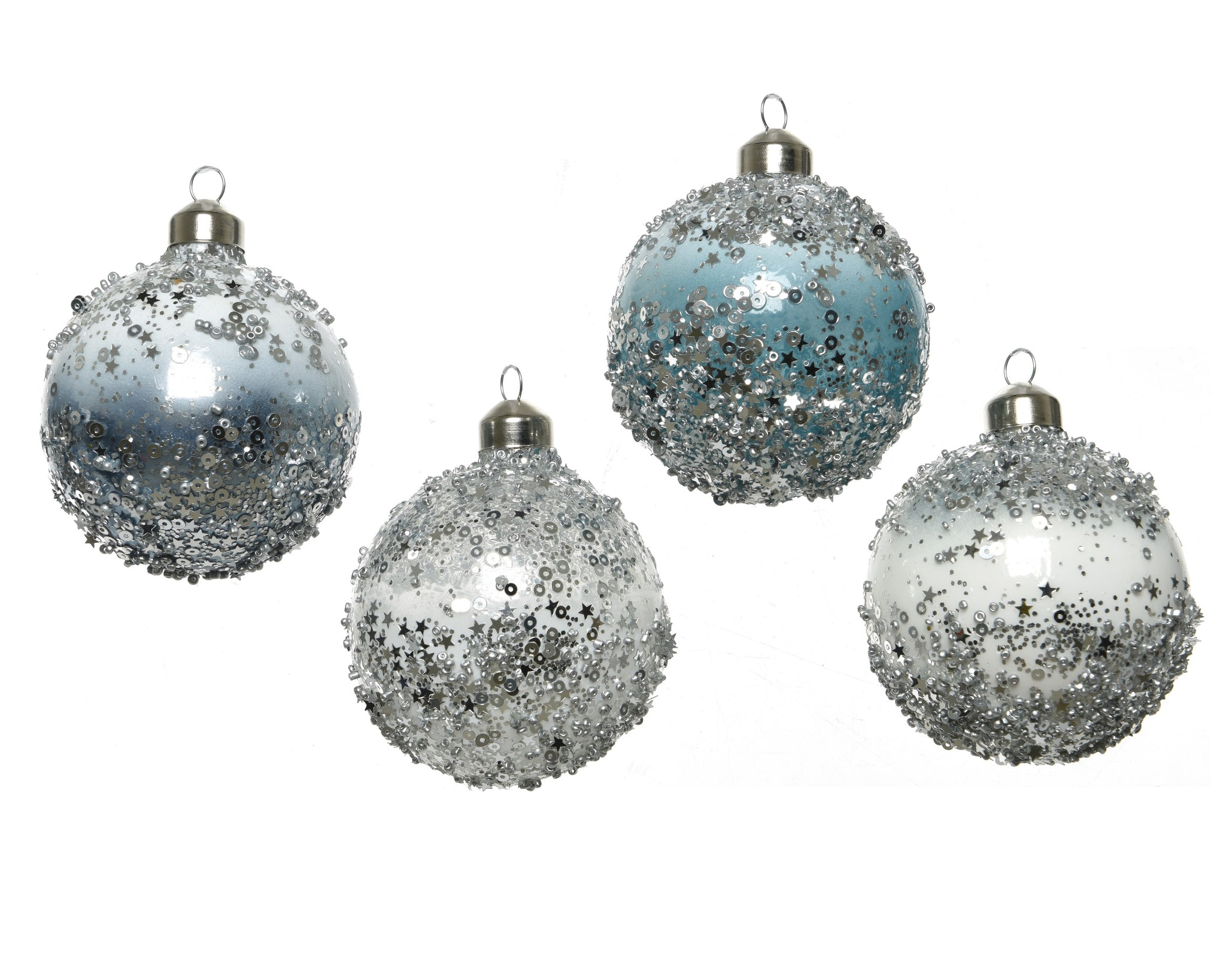 Silver blue Christmas baubles-Ireland