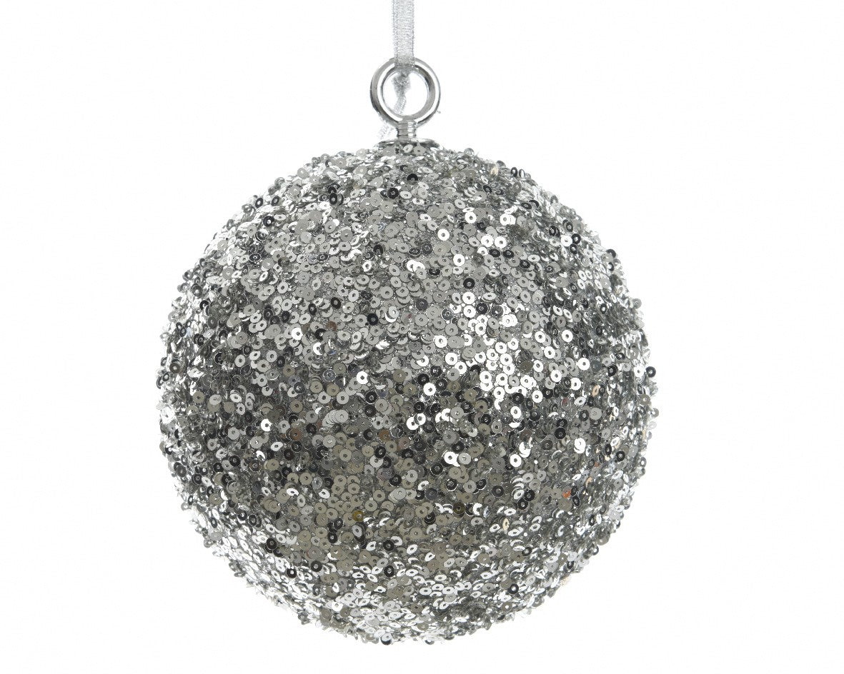 Oversized sequined Christmas ball (silver)-Ireland