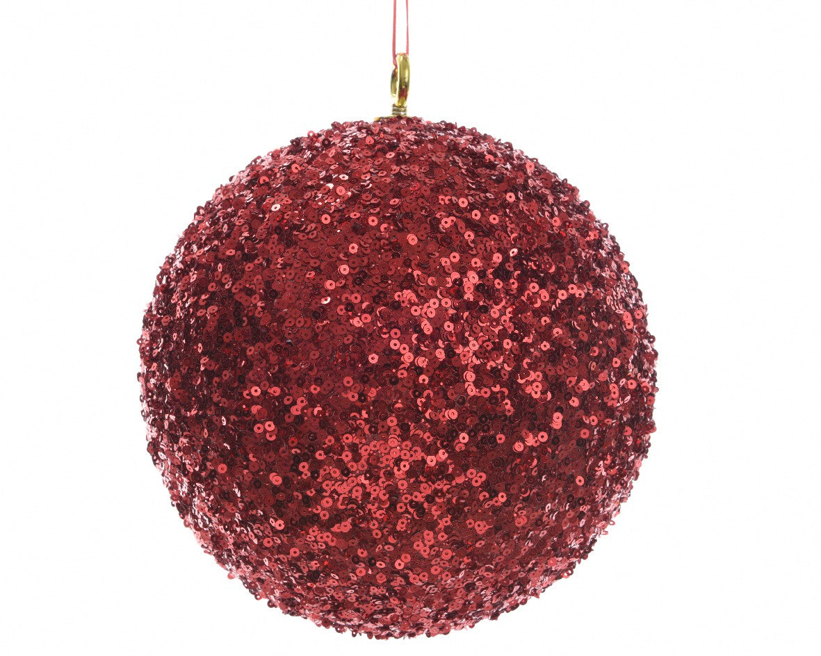 Oversized sequined Christmas ball (red)-Ireland