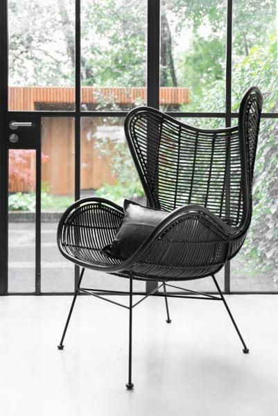 Black cocoon lounging rattan chair-Ireland