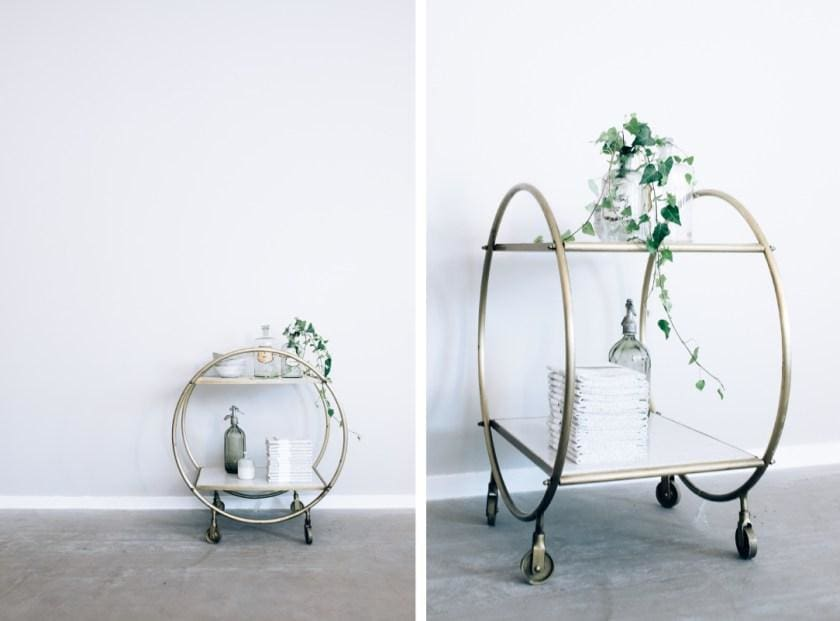 White marble and brass circular trolley