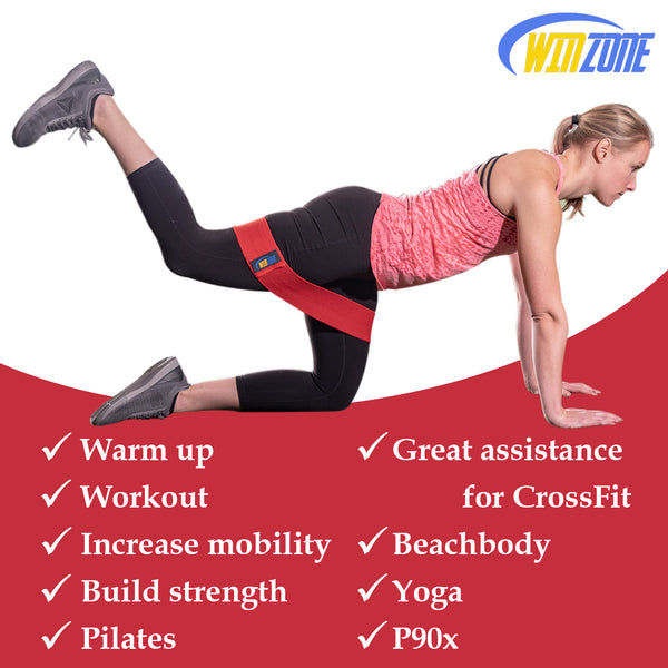 Winzone Hip Resistance Bands | Bodyweight Training Kit for Booty, Glutes, Abs & Legs Workout | Non-Slip Cloth Gym Exercise Band for Women & Men | Resistant Fitness Trainer Set of 3 with Bonus Sliders