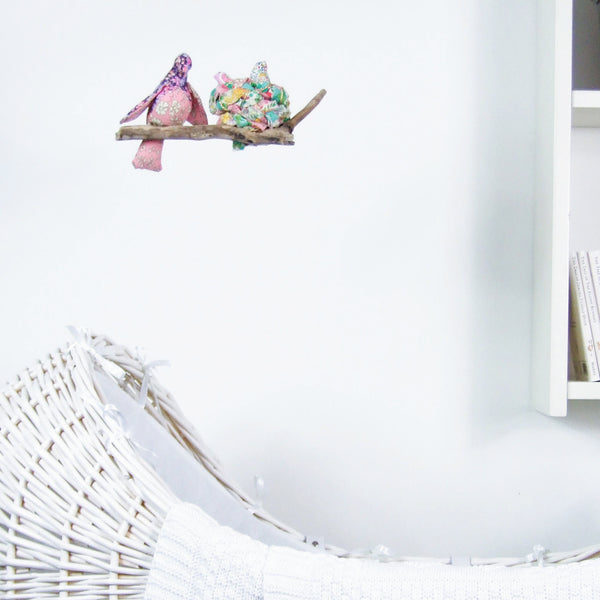 Bird Mobile: 'My little ones' Nesting, handmade from Liberty print